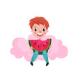 cute little boy sitting on a pink cloud and eating vector image vector image