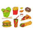 different fast snacks set vector image vector image