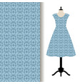 dress fabric with blue royal pattern vector image vector image