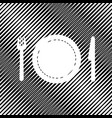 fork plate and knife icon hole in moire vector image vector image