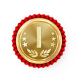 gold 1st place rosette badge medal vector image