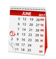 icon calendar for june 1 2017 vector image vector image