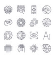icons set for artificial intelligence ai concept vector image vector image