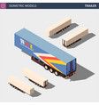 isometric semi trailer clean model in four vector image