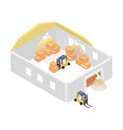isometric warehouse building with forklift vector image vector image
