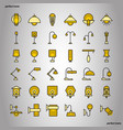 lamp color line icons perfect pixel vector image