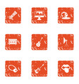 life of musician icons set grunge style vector image vector image