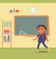 little pupil near chalkboard in classroom vector image