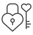 lock and key in heart shape line icon love vector image vector image