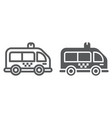 mini bus line and glyph icon automobile and car vector image vector image