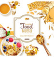 muesli food frame composition vector image vector image