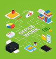 office work isometric background vector image vector image