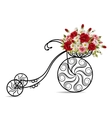 Old bicycle with a basket full of flowers vector image