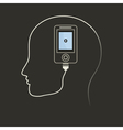 Phone in a brain vector image vector image
