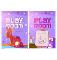 playroom posters with toys and furniture for kids vector image