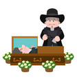 priest at the coffin with the deceased of life vector image