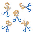 scissors cutting symbols currencies on vector image vector image