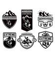 set snowboarding club emblems design element vector image