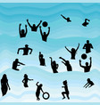 silhouettes of people having fun in the water vector image vector image