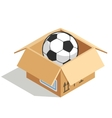 Soccer ball in a box isolated over white vector image vector image