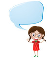 speech bubble template with girl in red vector image vector image