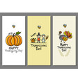 thanksgiving day art cards for your design vector image vector image