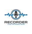 voice data recorder modern logo vector image vector image