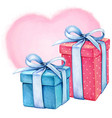 watercolor romantic gift boxes blue and pink vector image vector image
