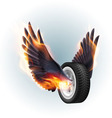 Wheel with fire wings vector image vector image
