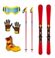 Winter accessories for extreme sports - ski vector image vector image