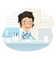 Woman Doctor Character Sitting at the Desk vector image vector image