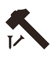 Hammer and nail icon vector image