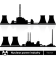 Nuclear power plants silhouette isolated on white vector image