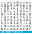 100 marketing icons set outline style vector image vector image