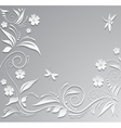 Abstract background with paper flowers butterfly vector image vector image