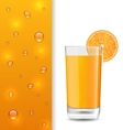 Advertise Banner with Orange Beverage and Drops vector image vector image