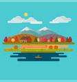 autumn landscape flat design vector image vector image