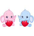 baby elephants holding hearts vector image vector image