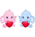 baelephants holding hearts vector image