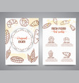 bakery vintage brochure with sketch pastries vector image vector image