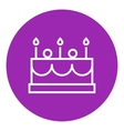 Birthday cake with candles line icon vector image vector image
