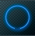 blue neon round frame template on transparent vector image vector image