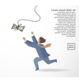 Businessman catch money dollar run flat drawing vector image
