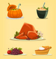 cartoon isolated thanksgiving dish turkey pumpkin vector image vector image