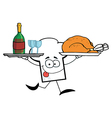 Chef Hat Guy Serving Wine And Turkey vector image vector image