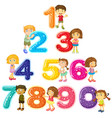 children and numbers one to zero vector image vector image