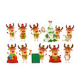 collection of happy cute christmas reindeer vector image vector image