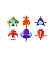 colorful fantasy aircrafts set airplanes vector image vector image
