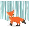 cute fox cartoon fox flat style withwinter vector image vector image