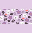 cute pigs seamless pattern with pink flowers vector image vector image